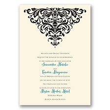 Dramatic Damask Ecru Wedding Invitation