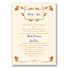 Leafy Accents - Ecru - Invitation