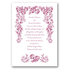 Vintage Rose Red Wedding Invitation