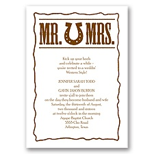 Country Luck Brown Wedding Invitation
