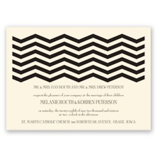 Modern Chevron Ecru Wedding Invitation