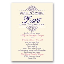 Fairy Tale Love Ecru Wedding Invitation