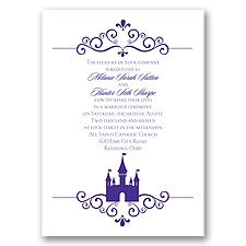 Fairy Tale Castle Purple Wedding Invitation