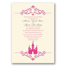 Fairy Tale Castle Ecru Wedding Invitation