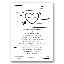 Birch Bark Heart Wedding Invitation