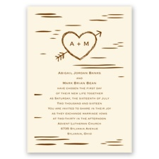 Birch Bark Heart Ecru Wedding Invitation