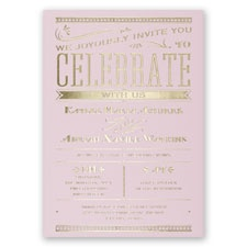 Big News Pink Foil Wedding Invitation