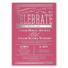 Big News Fuchsia Shimmer Foil Wedding Invitation