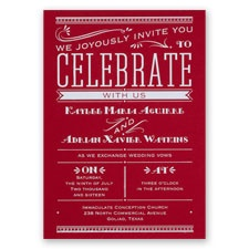 Big News Red Foil Wedding Invitation