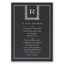 Refined Style Black Shimmer Foil Wedding Invitation