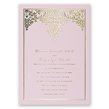 Demure Damask Pink Foil Pink Wedding Invitation
