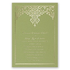 Demure Damask Olive Foil Wedding Invitation