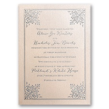 Forever Flourish Blush Shimmer Foil Pink Wedding Invitation
