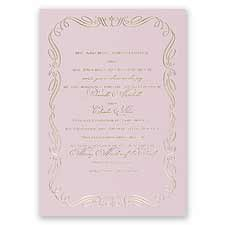 Calligraphy Border Pink Foil Wedding Invitation