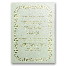 Calligraphy Border Pistachio Shimmer Foil Wedding Invitation
