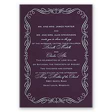 Calligraphy Border Eggplant Foil Purple Wedding Invitation