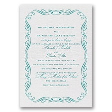 Calligraphy Border White Shimmer Foil Wedding Invitation