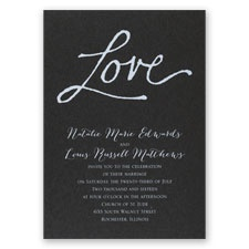 Pure Love Black Shimmer Foil Wedding Invitation