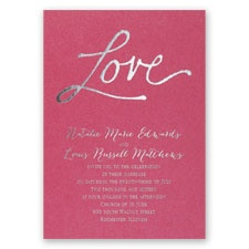 Pure Love Fuchsia Shimmer Foil Wedding Invitation