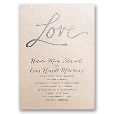 Pure Love Blush Shimmer Foil Wedding Invitation