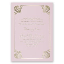 Art Deco Delight Pink Foil Wedding Invitation