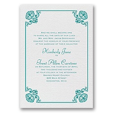 Art Deco Delight White Shimmer Foil Wedding Invitation