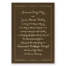 Dots of Love Brown Shimmer Foil Wedding Invitation