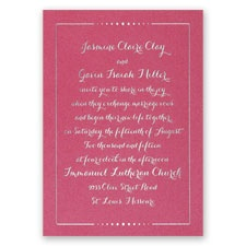 Dots of Love Fuchsia Shimmer Foil Wedding Invitation