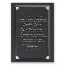 Creative Corners Black Shimmer Foil Wedding Invitation
