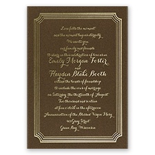 Impressive Borders Brown Shimmer Foil Brown Wedding Invitation