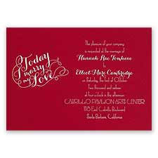 My Love Red Foil Wedding Invitation