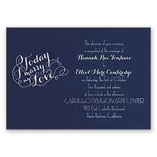 My Love Navy Foil Blue Wedding Invitation