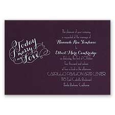 My Love Eggplant Foil Purple Wedding Invitation