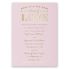 Real Love Pink Foil Wedding Invitation