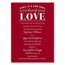 Real Love Red Foil Red Wedding Invitation