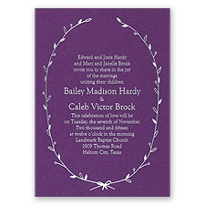 Naturally Beautiful Purple Shimmer Foil Purple Wedding Invitation
