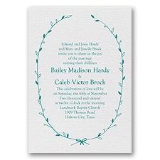 Naturally Beautiful White Shimmer Foil White Wedding Invitation