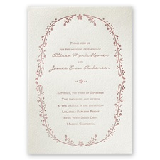 Country Vines Ecru Featherpress Wedding Invitation