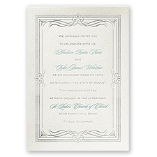 Diamonds and Swirls Ecru Featherpress Wedding Invitation