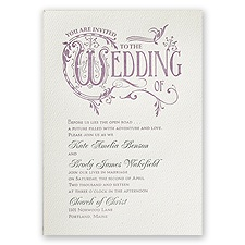 Storybook Style Ecru Featherpress Wedding Invitation