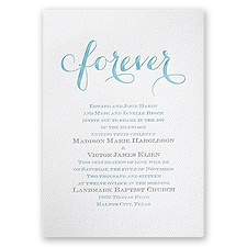 Fancy Forever White Featherpress Blue Wedding Invitation