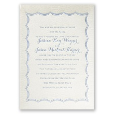 Scalloped Lace Ecru Featherpress Wedding Invitation