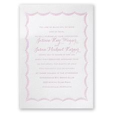 Scalloped Lace White Featherpress Pink Wedding Invitation