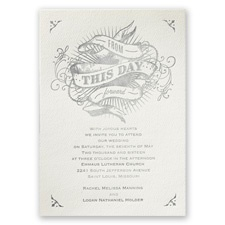 True Art Ecru Featherpress Wedding Invitation