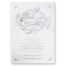 True Art White Featherpress Wedding Invitation