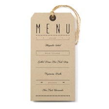 Just the Ticket - Menu Card