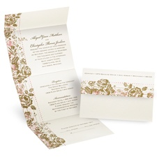 Faded Floral Seal and Send Wedding Invitation