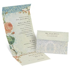 Brilliant Garden Seal and Send Vintage Wedding Invitation