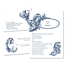 Posh Flourish 3 for 1 Blue Wedding Invitation