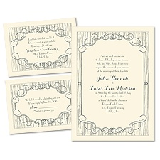 Classy Country Ecru 3 for 1 Wedding Invitation